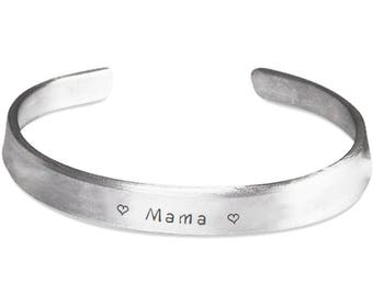 Mama Bracelet - Mother's Day Gift For Mama, Mom, Daughter, Her - Mom Cuff Bracelet Hand Stamped Band - Gift For Mom From Kids - Mama Gifts
