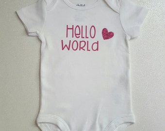 Hello World pink heart  baby girl Bodysuit Short Sleeve