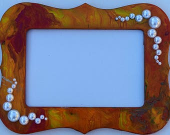 Fluid Art on wooden frame - photo frame