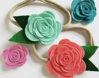 Large Felt Rose Flower Hair Bow for Baby or Girls, Handmade Wool Felt Hairbow Clip or Headband, Custom Made Felt Flower, Pick Your Color