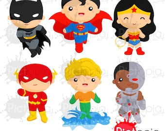 Heroes of justice Solid Color clipart, superhero clipart, justice league png, hero clipart INSTANT DOWNLOAD