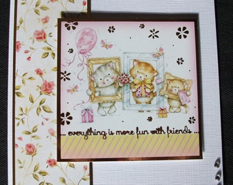 Kitten card. Cat card. Kitty card. Kitty cat card. Cat lover's card. Cute kitten card. Best friend card. Everyday card. Any occasion card.