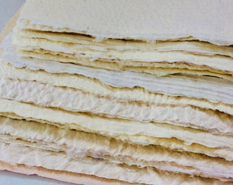 Handmade Paper - Recycled - Paper Pack - Texture - homemade paper - Upcycled  cardstock - artist supply - gift idea - Off white paper