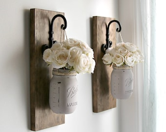 Rustic Wall Sconces-Rustic Wall Decor-Mason Jars Sconce-Farmhouse Sconce-Rustic Home Decor-Wall Hanging Decor