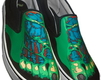 Custom Faded Glory Brand Zombie Foot Canvas Shoes