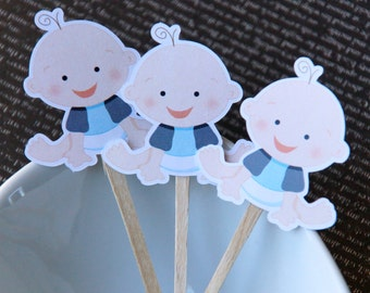 Baby Boy DIY Cupcake Topper Kit, Baby Boy Cupcake Toppers, Boy Baby Shower Toppers, Party Picks or Skewers