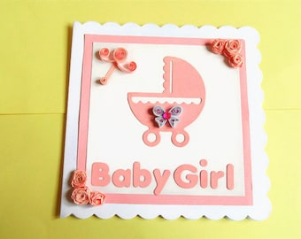 New baby card, new baby girl card, baby card, new baby girl, new baby, baby shower card, handmade card, quilled card, new arrival card