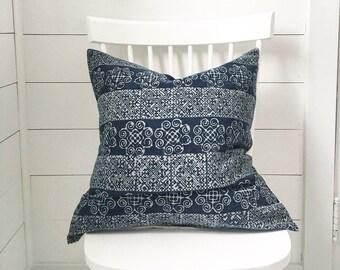 """Navy batik hmong decorative pillow cover 22"""""""