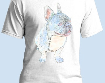 French Bulldog T Shirt, Pastel Print