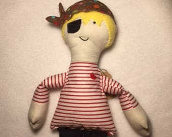 Handcrafted,Heritage  Retro Rag Pirate doll. Arrrrrrrh!