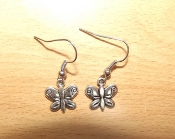 Earrings Butterfly charm, handmade.