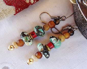 Nepal earrings howlite wood - gift idea
