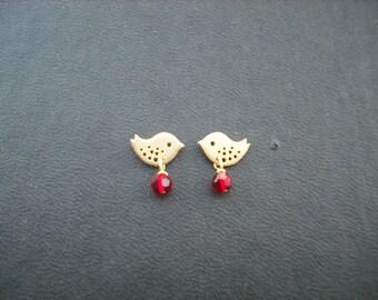 Flower Girl Earrings, Matte Gold Tiny Love Birds Post Earrings, Flower Girl Gift, Bridesmaids Gift, Wedding Gift, Birthday Gift