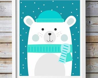 Bear Nursery Wall Art, Bear Nursery Wall Art, Nursery Printable Wall Art, Winter Nursery Art, Winter Nursery Wall Art