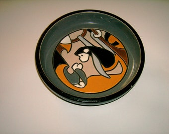 MONKEY Pottery Artesania Rinconada Graphic Drawing 2 Monkey Pottery JJ Madison Co Uruguay Artist's Logo on Bottom Vintage Monkey Design Dish