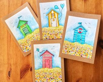 Set of 4 Beach Hut Cards, Original Artwork