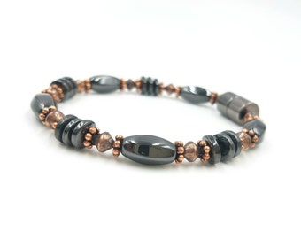 Solid Copper & Black Hematite Energizing Magnetic Therapy Bracelet/Anklet Super High Power Wellness Health