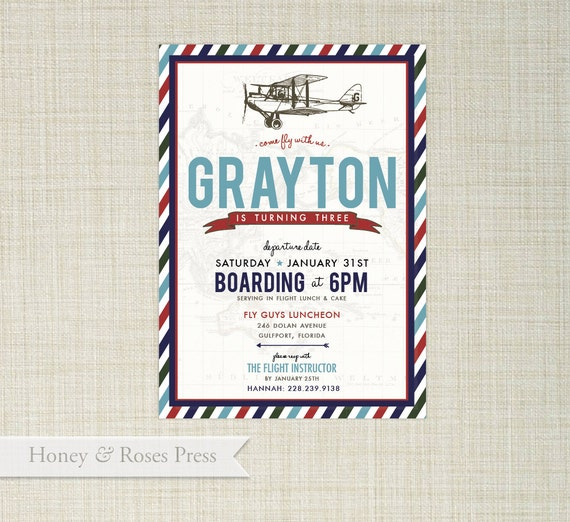Items Similar To Airplane Birthday Invitation: Items Similar To Vintage Airplane Invite . Vintage Plane