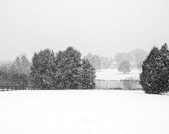 Snow on the Farm : archival quality fine art photography, horizontal format, landscape