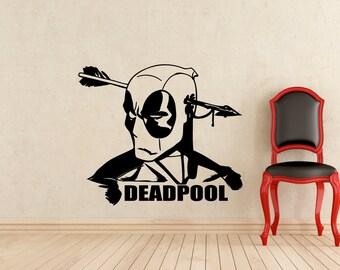 Deadpool Wall Decal DC Marvel Comics Superhero Vinyl Sticker Home Interior Design Murals Art Decoration (188z)