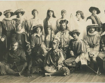 Theater play group actors crossdressers in fantastic costumes antique photo