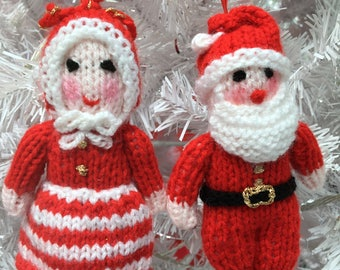Father and Mother Christmas Hand-knitted Tree Decorations