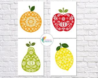 Retro Fruit Prints, Set of 4 Fruit Prints, Midcentury Kitchen Prints, Retro, Scandinavian Design, Retro, Fruit Prints