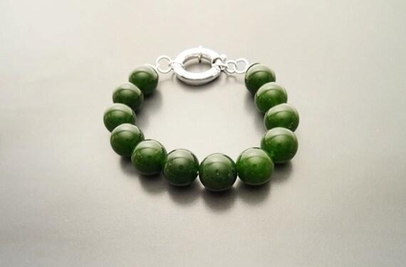 Casual Gemstone Bracelet - Green Agate, Beaded Bracelet - 10mm balls - Sterling Silver Spring Ring Clasp - Green Gemstone Beaded Bracelet