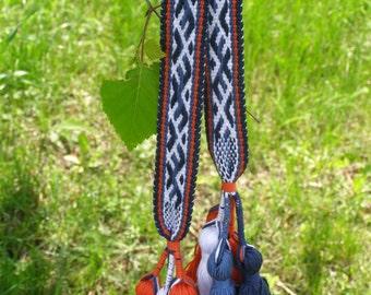 Woven Belt Woven Sash with Slavic Russian Pattern Boho Belt, Hand woven, Inkle Weaving, Medieval patterned belt Bereginja in shades of Blue
