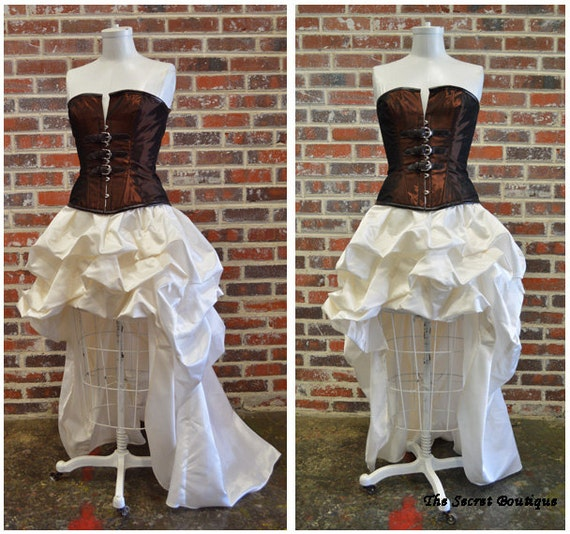 Steampunk Wedding Dress Couture Hi Low Bustle With