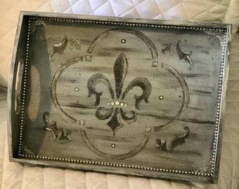 French tray, Paris decor, Crown, Wooden tray, French decor, Embellished tray, Fleur de lis, Paris