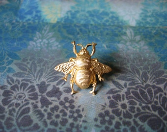 Bumble Bee - Tiny Golden Bumble Bee Brooch Lapel Pin or Tie Pin Tie Tack with Gift Box