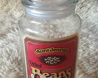 Vintage Aunt Jenny's Beans Glass Canister 1980