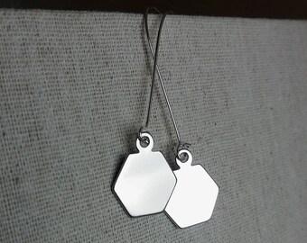 Sleek Hexagon Earrings. Geometric Earrings. Hex Pendant Earrings. Geo Earrings. Modern Trendy Hip