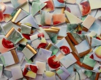 120pc Red Purple Green Vintage China Tiles//Broken Dish Mosaic Tiles//Mosaic Supplies//Mosaic//Craft Supplies