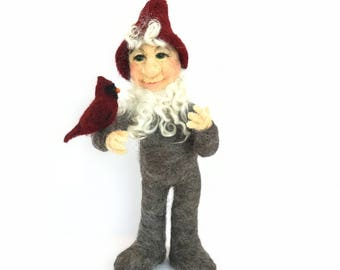 Needle felted art doll, Gnome, Tomten, Nisse, cardinal