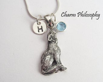 Howling Wolf Necklace - 925 Sterling Silver Jewelry - Werewolf Pendant - Monogram Initial and Birthstone