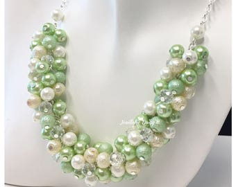 Greenery and Ivory Necklace Bridesmaid Gift Green Pearl Necklace Cluster Bridesmaid Jewelry Light Green Necklace Jewelry Gift for Her