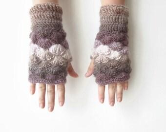Multicolor Brown Beige Mittens. Shell Crochet Wrist Warmers. Handknitted Fingerless Gloves. Handmade Women Winter Accessories.