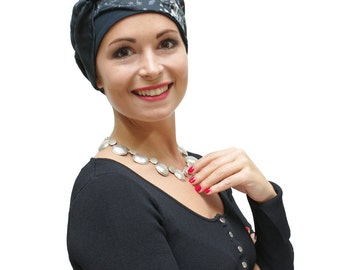 Grey Chemo Hat | Stylish Chemo Headwear | Smart Chemo Hat | Women's Fashion Turban | Cancer Gift For Her - Silk Organza trim, sizes XS S M L