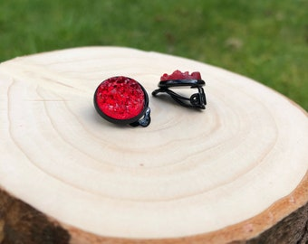 Clip on earrings, gothic jewellery, blood red jewellery, gifts for her, clip on jewelry, gothic gifts, gifts for women, presents for sister