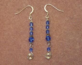 Sterling Silver Sapphire Blue Swarovski Crystal Elements Swirl Earrings
