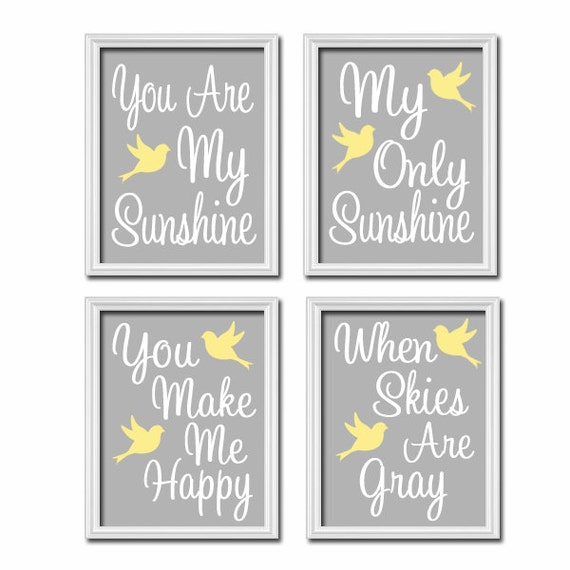Superb Items Similar To Yellow Gray You Are My Sunshine Wall Art CANVAS Or Prints  Bird Birdie Quote Crib NURSERY Song Set Of 4 Baby On Etsy