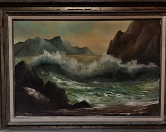 Mid Century Caliofornia Ocean Oil Painting Vintage Signed
