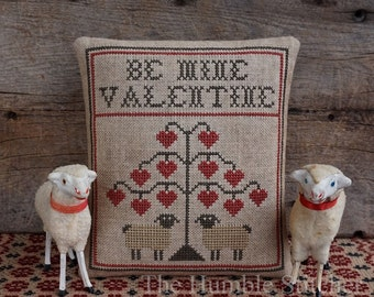 Be Mine Valentine...Primitive PAPER Cross Stitch Pattern By The Humble Stitcher