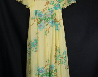 "Vintage 1970s ""Kawamura"" label Silk Flowing Boho Beautiful Yellow Floral Dress with Orchids print"