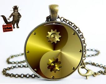 Yin Yang steampunk pendant , Yin Yang steampunk necklace, Yin Yang steampunk  jewelry, birthday Art pendant necklace Jewelry