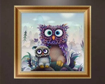 Diamond OWL kit embroidery complete 30x30cmstrass