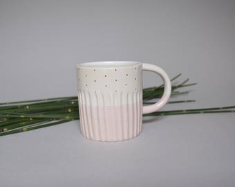 Pink and white ceramics tea/coffee/water mug with handle, handmade wheel thrown stoneware, with gold dots