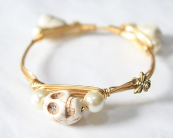 White Stone Skull and Pearl Wire Wrapped Bangle